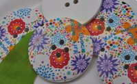 Wholesale Large Buttons Diy - 10pcs 40mm circular printed wooden buckle large buttons DIY decorative buckle   children buttons   sweater decoration Optional c