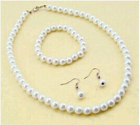 Wholesale Silver Disco Ball Ring - High Quality Cream Glass Pearl and Disco Rhinestone Ball Women Bridal Necklace Bracelet and Earrings Wedding Jewelry Sets Bridal Accessories