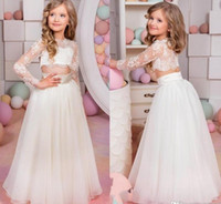 2017 Bambini adorabili Abiti da spettacolo Sexy Sheer Lace Applique Jewel Neck Illusion Manica lunga Due pezzi Una linea Tulle Little Girl Prom Dress