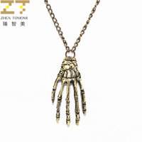 Wholesale Hand Bone Necklace - Wholesale- Xl048 Hot Fashion Vintage Retro Hand Bone Pendant Necklace Maxi Statement Long Necklace Sweater Chain For Women Jewelry 2017