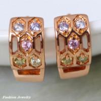 Wholesale Hoop Jade - Delicate 18K real gold plated Multi-color CZ zircon hoop Earrings Fashion Jewelry (DANA E260) earings display