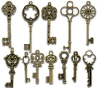 2015 New 24PCs Mixed Bronze Tone Vintage Key Charm Pingentes Colar Para Mulheres 33x13mm-69x20mm Pendants Cheap Pendants