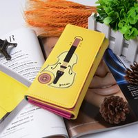 Wholesale Guitar Press - New Fashion Women Wallet PU Leather Long Purse Guitar Print Press Stud Fastening Casual Purse Candy Colors Lowest Price