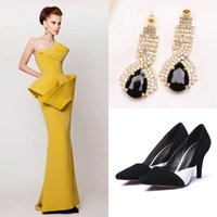 Wholesale Earrings Pearl 14 - Luxury Evening Dresses Bling Earrings Black Shoes 2015 Vintage Azzi & Osta Sleeveless Prom Gowns Backless Special Long Formal Evening Dress
