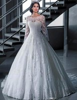 Wholesale Princess Scoop Neck Dresses - 2015 Lace Wedding Dresses Long Sleeve Sheer Neck White Ball Gown Wedding Dress Court Train Robe De Mariage Princess Bridal Gowns HYR01