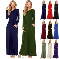 Wholesale Solid Maxi Dresses Wholesale - Dresses Maxi Casual Dress Women Fashion Loose Dresses Solid Long Sleeve Dresses Round Collar Long Sexy Elegant Dress Women's Vestidos B3470
