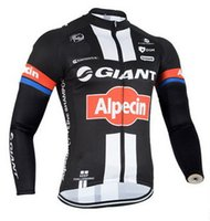 jersey de ciclismo de manga larga gigante al por mayor-WINTER FLEECE THERMAL 2015 GIANT ALPECIN TEAM NEGRO SÓLO DE MANGA LARGA CICLISTA JERSEY TALLA: XS-4XL