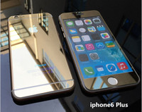 Wholesale Iphone 4s Full Package - Front + Back Full Body 0.26mm 2.5D Colorful Mirror Tempered Treated Tinted Glass Film For iPhone 4 4S 5 5S 6 Plus With Retail Package