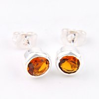 Wholesale 925 Silver Brazil - 6 Pairs Luckyshine Superb Round Shiny Brazil Citrine Gems 925 Sterling Silver Plated Stud Earrings Russia Canada Stud Earrings Jewelry