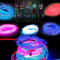 draht neon 3m großhandel-3M Flexible Neon Light Glow EL Drahtseilrohr Flexible Neonlicht 8 Farben Auto Dance Party Kostüm + Controller Weihnachten Urlaub Decor Light