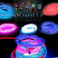 tubo de cable de luz de neón al por mayor-3M Flexible Neon Light Glow EL tubo de cuerda de alambre Flexible Neon Light 8 colores Car Dance Party Costume + Controller Navidad Holiday Light