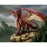 Wholesale Rooms Painted Red - Red Dragon Full Drill DIY Mosaic Needlework Diamond Painting Embroidery Cross Stitch Craft Kit Wall Home Hanging Decor