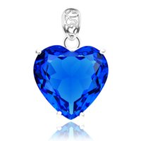 Wholesale 925 blue topaz - 5PCS Lot Party Holiday Jewelry Gift Classic Lovely Heart Blue Topaz Gems 925 Silver Pendant