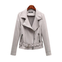 Wholesale Gray Suede Jacket - Fashion Women Jacket Solid Gray Zipper Basic Suede Jacket Coat Slim Belted Motorcycle Outerwear Autumn Winter Short Jackets C138