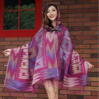 Wholesale Bohemian Cotton Scarf - New Fashion Women Scarf thick Hooded Cape Shawl Scarf Women Toggle Cape Coat Poncho Hoodies Hooded Jacket Bohemian Jacket