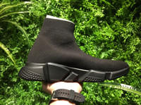Wholesale Women Knitted Style Boots - 2017 Brand Speed Runner Sock Men Women Youth Black knit high Cut Trainder Stretch Boot Fashion style size eur 30-45