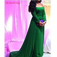 Wholesale Vestido Longo Peplum - Saudi Arabic Emerald Green Evening Dress 2016 Middle East Dubai Off the Shoulder Long Sleeves Formal Prom Dresses Vestido de Fiesta Longo
