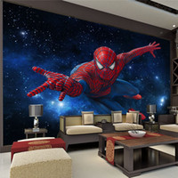 murales de fondo al por mayor-3d estéreo Continental TV fondo papel tapiz sala de estar dormitorio mural cubierta de la pared no tejida Star Spiderman Mural Kids room