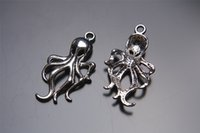 Wholesale Octopus Pendant Necklace - Top Sale ! 100pieces 31mm octopus Charms Silver Pendant connector 7126 DIY Jewelry Beads Hook Clasp Caps infinity Europe Bracelet Necklace