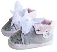 Wholesale Gray Canvas Toddler Shoes - Ribbon sequins baby shoes wholesale,pentagram toddler shoes,soft bottom girls single shoes,free shipping casual kids shoes.6 pairs 12 pcs