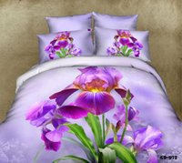 Wholesale Wholesale Cotton King Size Bedspreads - 3D Purple floral bedding set California king quilt duvet cover brand bedspread fitted bed in a bag sheets linen lilac queen size 7pcs