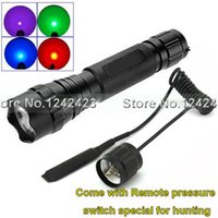 Gros-Ultrafire 501B CREE Q5 LED Flashlight Chasse Lanterna à la pression à distance Commutateur 1 Mode Vert / Rouge / Bleu / mauve en option