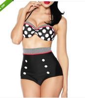 Wholesale Dot Split Swimwear - 2015 new vintage swimsuit brand women highwaist swimwear bathing suit black with dot beach wear BIKINIS-173