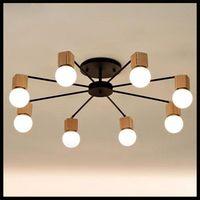 Wholesale Wood Light Fixture Ceiling - wood LED ceiling lights living room bedroom children's room ceiling lamp modern study lustre baby home lighting chandelier fixture