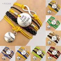 Wholesale Dream Infinity Bracelets - Live Your Dream Infinity Wish Love Baseball Softball Charm Sports Wrap Bracelets Leather Wax Unisex Women Fashion Christmas Custom Design