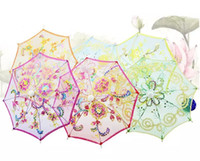 Wholesale performance tube - Mini Small Umbrella Children Dancing Props Craft Lace Embroidery Umbrella Stage Performance Party Gifts Souvenir MYY