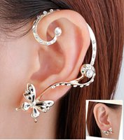 Wholesale Earring C - Retail 18k Butterfly Ear Cuff earrings Free Shipping New Fashion Punk Personality High Quality set ear clips Earring YS-C-C4