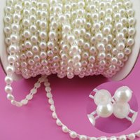 Wholesale Craft Beads Flatback Wholesale - Wholesale-6mm Pearl 25m roll New Craft Beads Pearls Sew On Perolas Para Artesanato 5 Color ABS Half Round Flatback Trim For Bride Dress
