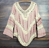 Wholesale Vintage Long Women Sleeve Shirt - 2015 Woman Sexy Summer Beach dress Deep V Neck Crochet Dress Long Sleeve Hollow Out Swimwear Bikini Cover Up Lace Crochet V-Neck Shirt