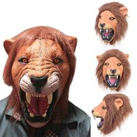Nueva alta calidad de Halloween Full Animal Head Adultos máscara Lion Latex máscara divertida máscara de fiesta de disfraces respirables para Cosplay