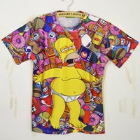 Wholesale Simpson Flash - New Fashion men women Short-sleeve T-shirt 3d Cartoon t-shirt print Character the simpson T shirt cute womens tshirt plus size
