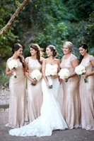 Wholesale Draped Charmeuse Dress - 2015 Sequined Plus Size Long Bridesmaid Dresses Sexy Jewel Neck Short Sleeve Lace Backless Glitz Sheath Prom Gowns For Party BO7240