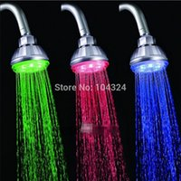 Wholesale Shower Faucet Light - Freeshipping LED shower head RGB light temperature control 3 color change Bath faucet no battery Tap Faucet Glow New