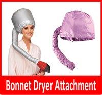 Wholesale Salon Hair Color Wholesale - New Portable Hair Dryer Soft Hood Bonnet Attachment Haircare Salon Hairdress Treatment Cap Color Pink and Grey Randomly Ship