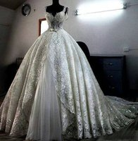 Wholesale High Quality Making Dresses - Real Model High Quality sparkling lace Wedding Dresses custom made ball gown heavily ball gown for bridal Saudi Arabia Wedding gown FS530