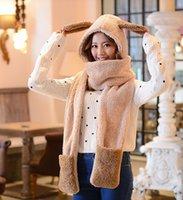 Wholesale Glove Scarf Ear Warmer Set - Wholesale-Fashion Gilrs Women Cute Lovely Fur Wool Cartoon Long Ear Scarf Hat Gloves 3-in1 Set for Women Girls Winter Warm Thicken