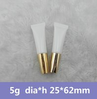 Wholesale 100pcs g White Plastic Sub bottling Cosmetic Tube w God Cap Small Empty Container Sample Squeeze Hose Bottle