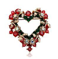 Wholesale crystal flower wedding garlands resale online - Christmas Xmas Gift Valentine s Gift Rhinestone Crystal Hollow Leaf Flower Garland Love Heart Brooch Pin