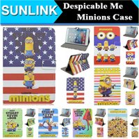 Wholesale Despicable Kevin - Cute Cartoon Animal Minions Kevin Bob Despicable Me 2 Folio Stand Leather Wallet Cases Cover For iPad Mini 4 7.9Inch USA Flag