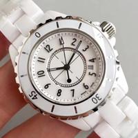 ingrosso bianco orologio da ceramica delle donne-Luxury Lady White Black Ceramic Watches Quarzo di alta qualità Moda donne squisite Orologi da polso da donna