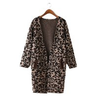 Wholesale Sexy Leopard Sweaters - Wholesale- SEXY LEOPARD PRINT CARDIGAN ANIMAL LONG SLEEVE BLOUSE JACKET SWEATER Outwear Casual Loose Sweater