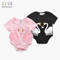 Wholesale Swan Rompers - Baby Girls Rompers Toddler kids Double Swan Cartoon Lace Rompers Infants short sleeve cute kids Jumpsuits Newborn jumpers Black Pink A7967