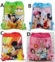 Wholesale Minnie Men - 20pc New Cartoon bag Mickey Minnie Non-woven Drawstring backpack School bag Shopping Bags Gift for Kid party favor 4 Design CC06