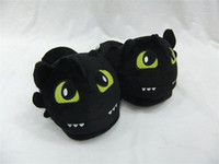 Wholesale open videos - Free Shipping How to train your dragon toothless Plush Shoes Winter Indoor Warm Slippers Two styles For Adult Open Mouth & Close Mouth