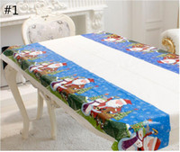 Wholesale Pvc Tablecloths - Christmas Disposable Tablecloth Christmas PVC Tablewear Merry Christmas Rectangular Printed Cartoon Tablewears Fancy Dish Table Cloth