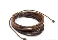 Wholesale Tribal Men Jewelry - Retro Tribal Leather Bracelet Men Women Rope Leather Braided Real Leather Bracelet wristbands Black and Brown vintage jewelry